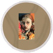 The Snow Princess Round Beach Towel