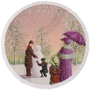 The Snowman Round Beach Towel