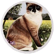 The Snowshoe Cat Round Beach Towel