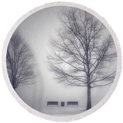 The Soft Breath Of Winter Round Beach Towel