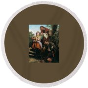 The Soldiers Return Henry Nelson Oneil Round Beach Towel