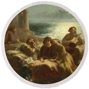 The Song Of The Troubadours Round Beach Towel