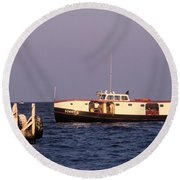 The Sonny S Ferry Docking At Middlebass Island Round Beach Towel