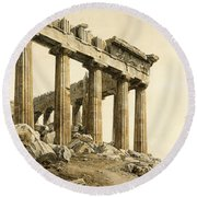 The South-east Corner Of The Parthenon. Athens Round Beach Towel