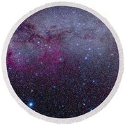 The Southern Milky Way Round Beach Towel