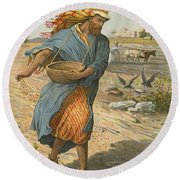 The Sower Sowing The Seed Round Beach Towel by English School