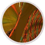 The Space Between Two Forces Abstract Round Beach Towel