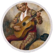The Spanish Guitarist Round Beach Towel