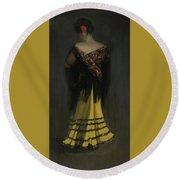 The Spanish Shawl - Portrait Of Jeanne Frankenberg Round Beach Towel