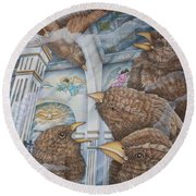 The Sparrows Of San Elizario Round Beach Towel