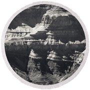 The Spectacular Grand Canyon Bw Round Beach Towel
