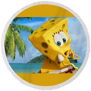 The Spongebob Movie Sponge Out Of Water Round Beach Towel