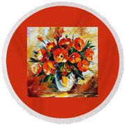The Spring Is Here Round Beach Towel