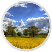 The Springtime Farm Round Beach Towel