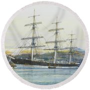 The Square-rigged Australian Clipper Old Kensington Lying On Her Mooring Round Beach Towel