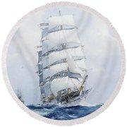 The Square-rigged Wool Clipper Argonaut Under Full Sail Round Beach Towel