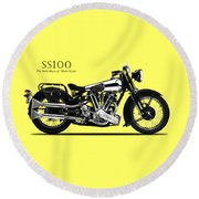 The Ss100 Vintage Motorcycle Round Beach Towel