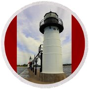 The St. Joseph Lighthouses In Michigan Round Beach Towel
