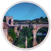 The St. Martin Bridge Over The Tagus River In Toledo Round Beach Towel