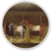 The Stables And Two Famous Running Horses Belonging To His Grace - The Duke Of Bolton Round Beach Towel