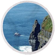 The Stack And The Jack B Cliffs Of Moher Ireland Round Beach Towel