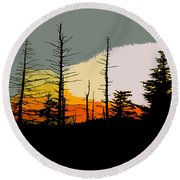 The Stained Glass Forest Round Beach Towel