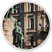 The Statue Of France Preseren And His Muse Round Beach Towel