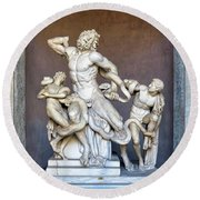 The Statue Of Laocoon And His Sons At The Vatican Museum Round Beach Towel