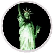The Statue Of Liberty #2 Round Beach Towel