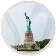 The Statue Of Liberty In New York City Round Beach Towel