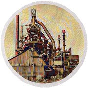 The Steel Stacks Watercolor Round Beach Towel