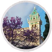The Steeple Of The Valldemossa Charterhouse In Spring Round Beach Towel