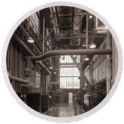 The Stegmaier Brewery Boiler Room Wilkes Barre Pennsylvania 1930's Round Beach Towel