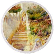 The Steps In Algiers Round Beach Towel by Pierre Auguste Renoir