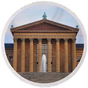 The Steps Of The Philadelphia Museum Of Art Round Beach Towel by Bill Cannon