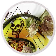 The Still Life With A Winter Rose Flower In A Macabre Style. Round Beach Towel
