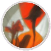 The Still Life With The Shadows Of The Flowers. Round Beach Towel