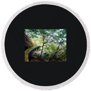 The Stone Wall Round Beach Towel