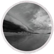 The Storm Rolling In To Good Harbor Beach Gloucester Ma Black And White Round Beach Towel