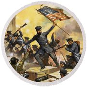 The Storming Of The Fortress At Chapultec Round Beach Towel by English School