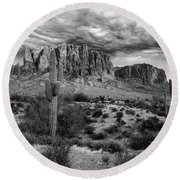 The Stormy Superstitions Round Beach Towel