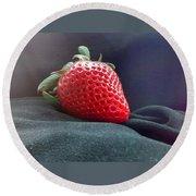 The Strawberry Portrait Round Beach Towel