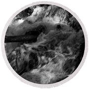 The Stream In Bw Round Beach Towel