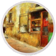The Street  -- Original Painting Round Beach Towel