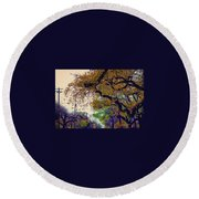 The Street Trees Round Beach Towel