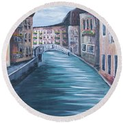 The Streets Of Italy Round Beach Towel