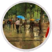 The Streets Of Paris In The Rain Round Beach Towel