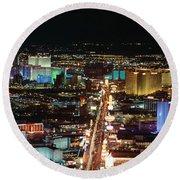 The Strip At Las Vegas,nevada Round Beach Towel