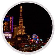 The Strip At Night 1 Round Beach Towel