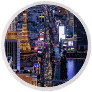 the Strip at night, Las Vegas Round Beach Towel